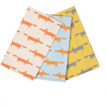 Scion Living Mr Fox Set of 3 Tea Towels - Boxed
