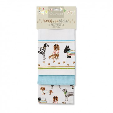 Cooksmart Best in Show Tea Towels, Multi-Colour, Pack of 3