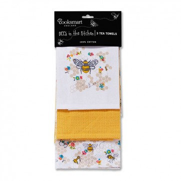 Cooksmart Busy Bees Tea Towel, Multi-Colour
