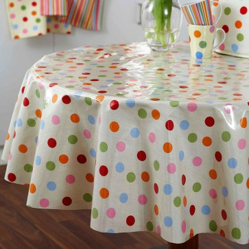 Cooksmart Round Spots Design PVC Coated Tablecloth