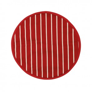 Rushbrookes Butcher's Stripe Hob Cover - Red