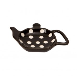 Dexam Polka Dot Teabag Holder - Black, Ceramic