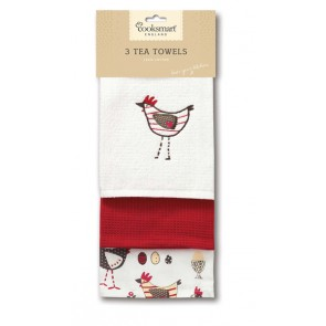 Cooksmart Tea Towels, Pack of 3, Chicken